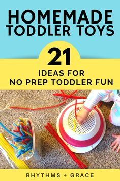 Finally a post with DIY homemade toddler toys that are ACTUALLY NO PREP. Just gr. ♡ Finally a post with DIY homemade toddler toys that are ACTUALLY NO PREP. Just grab the recycled item and turn it into a learning activity? My kinda ki. Toddler Play, Toddler Learning, Toddler Crafts, Toddler Activities, Learning Activities, Indoor Activities, Fun Learning, Baby Wipes Container, Recycling