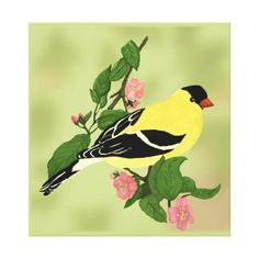 Goldfinch in a Blooming Cherry Tree Canvas Print - diy cyo personalize design idea new special custom