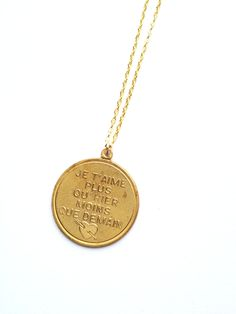 Ju t'aime French I Love You Vintage necklace