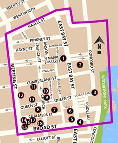 Map of the 'French Quarter' District in Charleston SC.