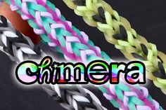 The Chimera bracelet was designed by Jo Hunt, instagram @5kidscausechaos  In this tutorial, we show you how to make three different variations of the chimera bracelet on the rainbow loom. It is basically a variation of the three pin fishtail(trifish) which is looped up with the tribal sequence on 2 pegs and either tribal, regular or inverted on the 3rd peg. This tribal sequence makes one side have a distinct stripe in the center.