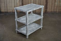 Carlie Reclaimed Lumber Side Table with Two Shelves in Light Antique Finish