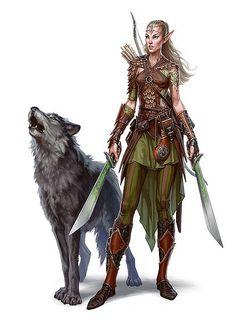 f High Elf Ranger Med Armor Cloak Dual Swords Longbow Wolf Companion female warrior lg Fantasy Character Design, Character Concept, Character Inspiration, Character Art, Elf Characters, Dungeons And Dragons Characters, Fantasy Characters, 3d Fantasy, Fantasy Warrior