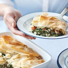 What's for dinner? Spanakopita, or spinach pie, is a classic fixture in Greek cuisine and extremely popular on this side of the ocean, most often sold as individual triangular pastries. Enjoy this casserole version alone as a light snack or first-course appetizer, or pair it with a lentil soup or fresh tomato salad for a more filling entrée for the whole family