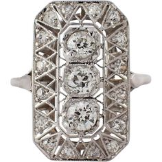The open rectangular ring, features 3 old mine cut diamonds, that weigh approximately carat total. Platinum Diamond Rings, Diamond Cuts, Estate Engagement Ring, Art Deco Period, Art Deco Jewelry, Antique Jewelry, Beautiful Things, Jewels, Stone