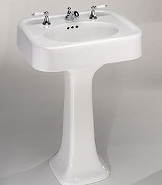 st thomas creations liberty sink and pedestal Modern Pedestal Sink, Pedestal Sink Bathroom, Single Handle Bathroom Faucet, Lavatory Sink, Bathroom Faucets, Downstairs Bathroom, Small Bathroom, Retro Bathrooms, Kitchen Faucets