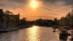 Amsterdam, Canals, Sunset, Dusk, Sunset, Ship, Landscape, City ...