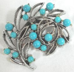 Vintage Light Turquoise Blue Plastic Bead Silver Tone Leaf Pin Brooch