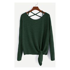 Dark Green Drop Shoulder Criss Cross Tie Front T-Shirt ($7.17) ❤ liked on Polyvore featuring tops, shirts, sweaters, long sleeves, extra long sleeve shirts, dark green shirt, green long sleeve shirt, green top and crisscross top