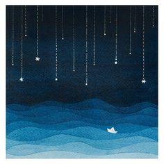 Print sailboat sea blue night stars watercolor illustration nursery art by VApinx on Etsy https://www.etsy.com/listing/237564427/print-sailboat-sea-blue-night-stars