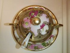 Victorian Nippon Gilded Hand Painted Pink Roses by BootyButtons, $39.99