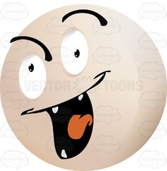 Evil Looking Light Colored Smiley Face Emoticon With Four Pointy Teeth, Lowered Left Eyebrow, Red Tongue #bad #computer #corrupt #destructive #emotion #evil #expression #eyebrows #eyes #face #feeling #hateful #icon #malevolent #malicious #monster #mood #mouth #PDF #scary #smiley #teeth #vector-graphics #vectors #vectortoons #vectortoons.com #villian #wicked