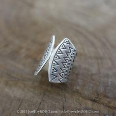 BOHO 925 Silver Ring-Gypsy Hippie Ring,Bohemian style,Statement Ring R121 JewelryBOHO,Handmade sterling silver BOHO Tribal printed ring