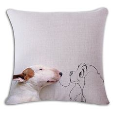 Beauty And Bull Terrier Funny Pillow Case