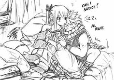 Natsu, Lucy, couple, cute, sleeping, reading, book, pocky, pocky game, text; Fairy Tail
