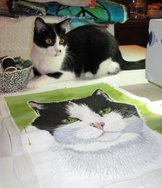 Fiber Art Options: A cat portrait, work in progress by Susan Brubaker Knapp