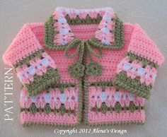 Crochet Sweater Pattern 045 - Blossom Baby Jacket in four sizes - Baby Jacket Toddler Sweater Baby Girl Doll Winter Sweater Cardigan Coat
