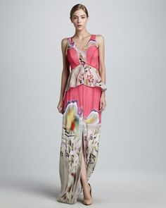 Printed Chiffon Gown by Vera Wang - boho hippie wedding dress