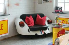 Another Volkswagen VW Bug couch Garage Furniture, Car Part Furniture, Automotive Furniture, Automotive Decor, Home Furniture, Recycled Furniture, Handmade Furniture, Car Parts Decor, Tailgate Bench