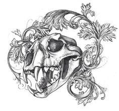 Animal skull n filagree tattoo flash