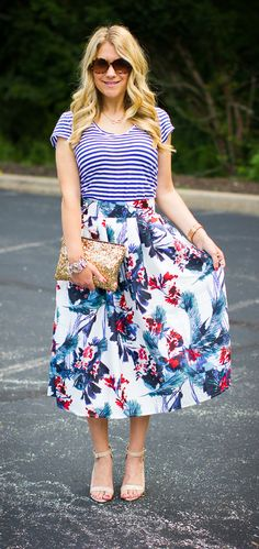 Blue stripes with floral skirt