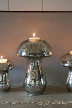Mercury Mushroom L, Riviera Maison in style of Villa Paprika Candle Accessories, Hurricane Lamps, Personalized Candles, Luxury Candles, Candle Centerpieces, Mercury Glass, Lanterns, Stuffed Mushrooms, Candle Holders