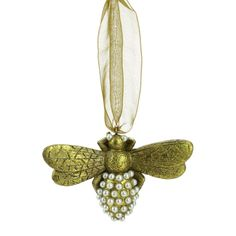 Gold Bumble Bee Christmas Ornament