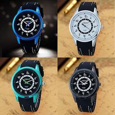 Luxury Men Sport Watches Silicone Band Stainless Steel Analog Quartz Wrist Watch Modern 2000-present Silicone/rubber Easy To Read Tide Indicator Men's : Battery