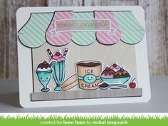 Ice cream themed card showcasing Lawn Fawn Treat Yourself and Here's the Scoop stamps and dies. #lawnfawn #treatyourself #heresthescoop