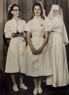 Nurse receiving her graduate cap. Some schools had two different cap styles, one for their Student Nurses, and another style for their graduates to wear as R.N.s. Some used the same cap all the way through, and others added colored stripes during training, replacing them with a single or multiple black stripes following graduation. There was a considerable variety available!
