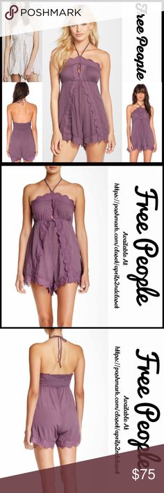 "FREE PEOPLE ROMPER Playsuit 💟NEW WITH TAGS💟 RETAIL PRICE: $98  FREE PEOPLE ROMPER Playsuit  * Halter top w/adjustable self ties  * Smocked back for a perfect fit    * Embroidered eyelet & scalloped ruffles   * Approx 3.5"" inseam & 32.5"" full length  * A relaxed fit  * Lightweight fabric   Material: 100% rayon  Color: Washed Plum (lilac mauve)Item#: FP95200 # pastel run heart cold shoulders  🚫No Trades🚫 ✅ Offers Considered*✅ *Please use the blue 'offer' button to submit an offer Free…"