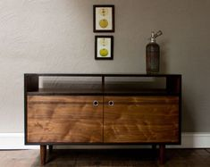 Burnt Media Console - Blackened Cherry and Natural Walnut TV Console with Aluminum pulls - TV Stand - Credenza Media Furniture, Sideboard Furniture, Vintage Sideboard, Credenza, Painted Furniture, Home Furniture, Furniture Design, Furniture Ideas, Furniture Inspiration