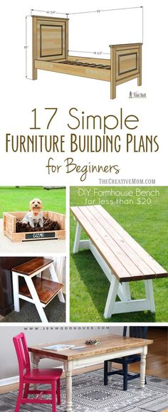Wood Profit - Woodworking - 17 simple furniture building plans for beginners Discover How You Can Start A Woodworking Business From Home Easily in 7 Days With NO Capital Needed! Woodworking Furniture Plans, Woodworking Projects That Sell, Diy Wood Projects, Diy Woodworking, Woodworking Workshop, Woodworking Articles, Woodworking Chisels, Woodworking Supplies, Woodworking Classes