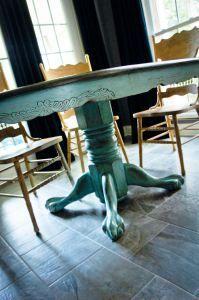 Duck Egg Blue paint, Distressed, Glazed Kitchen oak table redo