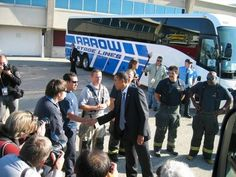 President Obama getting off Arrow Stage Lines motorcoach