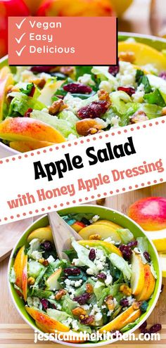 Apple Salad is the perfect pick for lunch, dinner or anytime you want to impress friends and family. Blue cheese adds a zing that perfectly combines sweet flavors with crunchy produce in this healthy dish! Great for holidays too- enjoy during fall months when apples are at their best quality. Lettuce Salad Recipes, Apple Salad Recipes, Vegan Lunch Recipes, Honey Recipes, Vegetarian Dinners, Salad Dressing Recipes, Healthy Salad Recipes, Brunch Recipes, Healthy Dishes