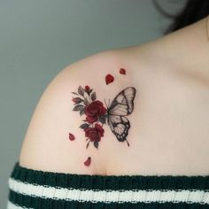 Red Ink Tattoos, Baby Tattoos, Mini Tattoos, Body Art Tattoos, Small Tattoos, Sleeve Tattoos, Tatoos, Realistic Butterfly Tattoo, Rose And Butterfly Tattoo