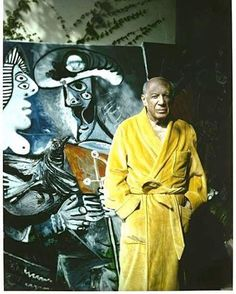 Pablo Picasso standing in front of his work.what a guy! Pablo Picasso, Kunst Picasso, Art Picasso, Picasso Paintings, Oil Paintings, Painting Art, Landscape Paintings, Henri Matisse, Henri Rousseau