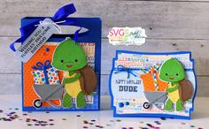 SVG Cutting Files: Turtle Wheelbarrow, Larger Handled Box Bag and Ornate Card Base - 3