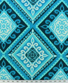 Spanish Tile Indigo - Indoor / Outdoor | Geometric diamond ikat outdoor fabric in navy, teal, turquoise, seafoam, and white. Excellent for decks, poolsides, and patios. Also great for cushions, throw pillows, tablecloths, and even shower curtains. Stiff drape. $8.98/yd