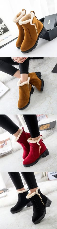 US$14.65 Warm Scrub Short Boots Side Zipper Mid Heel Ankle Shoes