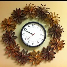 Toilet Paper Roll Wreath, hung around my clock!