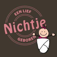 Een vrolijke felicitatiekaart voor de geboorte van een meisje. Kenmerken: nichtje, lief, geboren, geboorte, baby, strik, stempel, roze.  (Felicitatiekaart, geboorte)