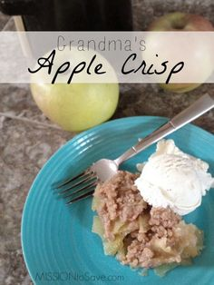 This yummy recipe has been passed down for years in my family.  Try my Grandma's Apple Crisp today! Perfect comfort food especially with orchard picked apples in the fall.