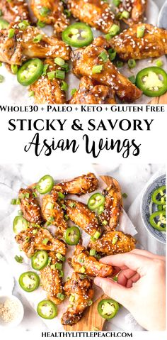 Sticky Asian Chicken Wings These Asian Sticky Chicken wings topped with sesame seeds and fresh jalapeno slices are the perfect family dinner or appetizer for a party. This dish is Keto, Paleo, Gluten-Free and Dairy-Free. Asian Wings, Asian Chicken Wings, Sticky Chicken Wings, Whole30 Chicken Wings, Paleo Appetizers, Appetizer Recipes, Asian Appetizers, Paleo Whole 30, Whole 30 Recipes