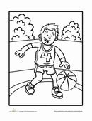 Basketball color page, sports coloring pages, color plate