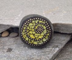 Yellow Tempered Glass Swirl Sun Mosaic Paperweight / Garden Stone