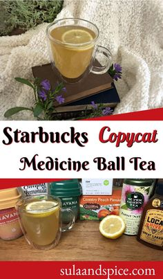 Long a secret menu item at Starbucks, this drink is now available as the Honey Citrus Mint Tea. Which is too long to remember! Make your own Medicine Ball at home! I think it's better than the Starbucks version! It will make you feel better when you have a cold but is also fantastic any other time. #starbuckssecretmenu #starbucksmedicineballtea #medicineball #starbuckscopycat #homemadestarbucksmedicineball Herbal Green Tea, Secret Menu Items, Starbucks Secret Menu, Mint Tea, Medicine Ball, Feel Better, Herbalism, Alcoholic Drinks, Honey