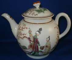 18thC Worcester / Lowestoft Porcelain Chinoiserie Teapot English Tea Pot England #WorcesterEnglish