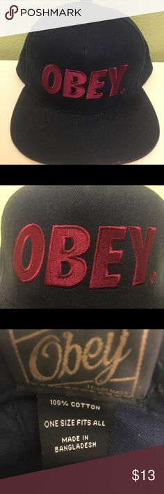 "NWOT ONEY baseball cap BRAND NEW WITHOUT TAGS OBEY brand baseball cap. It's a deep blue with a maroon colored ""OBEY""!  THIS HAT HAS NOT BEEN WORN! OBEY Accessories Hats"